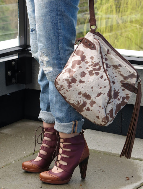 boyfriend jeans, House of Harlow 1960 bag, and lace-up heels
