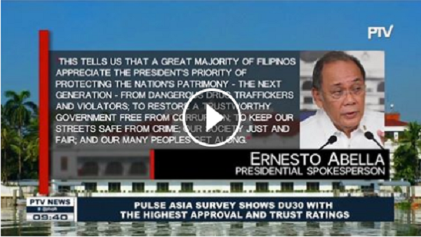 PRES. DUTERTE NANGUNGUNA SA PULSE ASIA SURVEY, HIGHEST APPROVAL, TRUST RATINGS AT PINAKA-MAIMPLUWENSYANG PRESIDENTE
