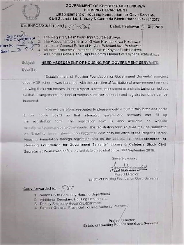 NEED ASSESSMENT OF HOUSING FOR GOVERNMENT SERVANTS