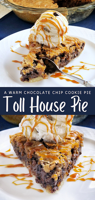 chocolate chip cookie pie with ice cream and caramel sauce