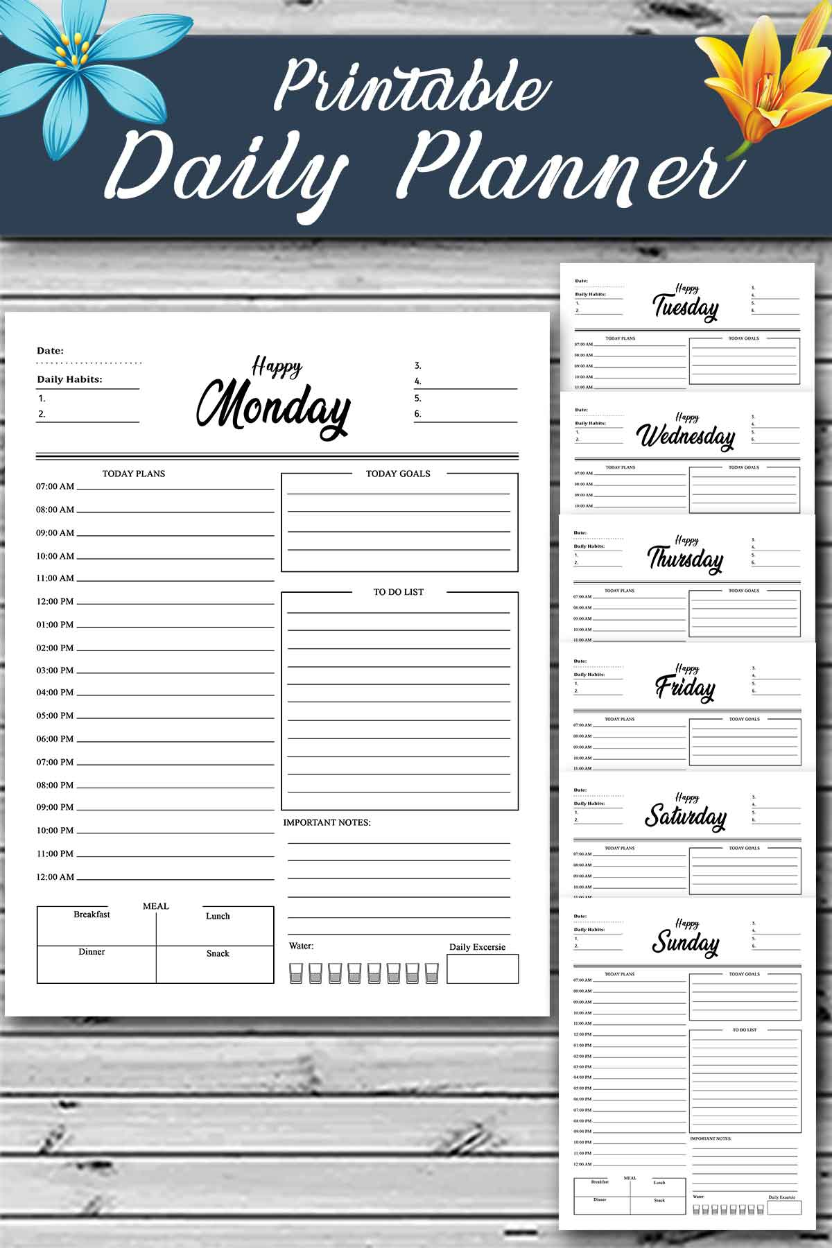 Best daily planner printable - daily schedule printable