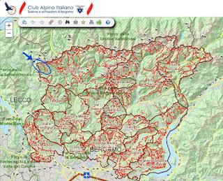 CAI Bergamo map - Alta Val Brembana with Valtorta hike shown.