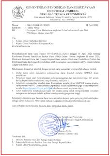 Penetapan calon mahasiswa angkatan II dan mekanisme lapor diri PPG dalam Jabatan 2021.