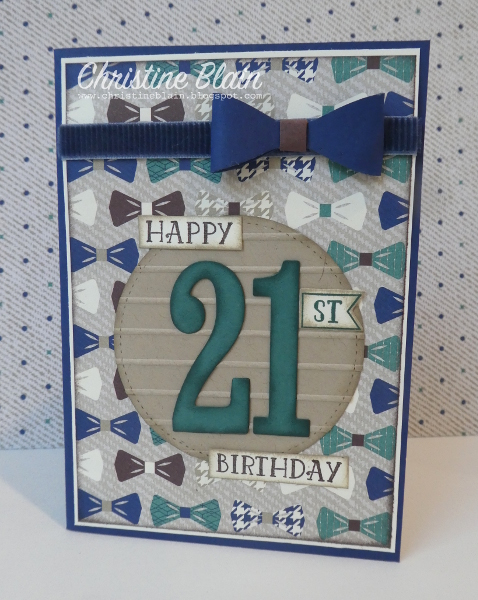Happy heart cards stampin up dapper male 21st birthday card i just love the colours in this paper pack i wouldnt have thought to team tranquil tide and chocolate chip with night of navy but its a winning combo bookmarktalkfo Gallery