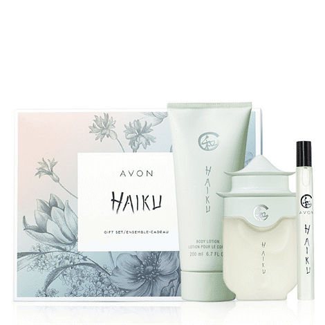 Haiku Eau de Parfum Spray - experience the serenity of a Japanese garden with delicate jasmine, lilies and sparkling citrus. 50 ml.  Haiku Body Lotion - scented body lotion smoothes skin. 200 ml.  Haiku Eau de Parfum Travel Spray - perfect for an uplifting spritz anytime, anywhere. 10 ml.