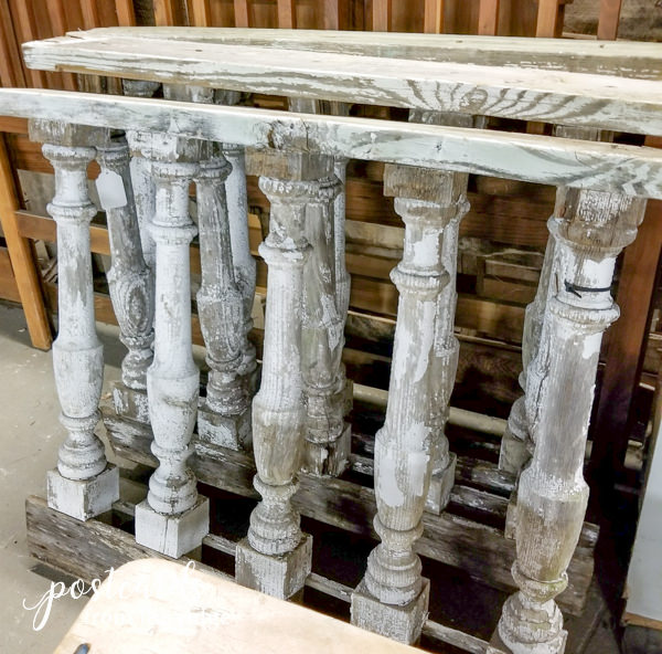 salvaged antique wooden balusters