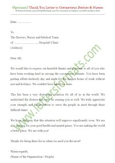 thank you coronavirus helpers letter sample