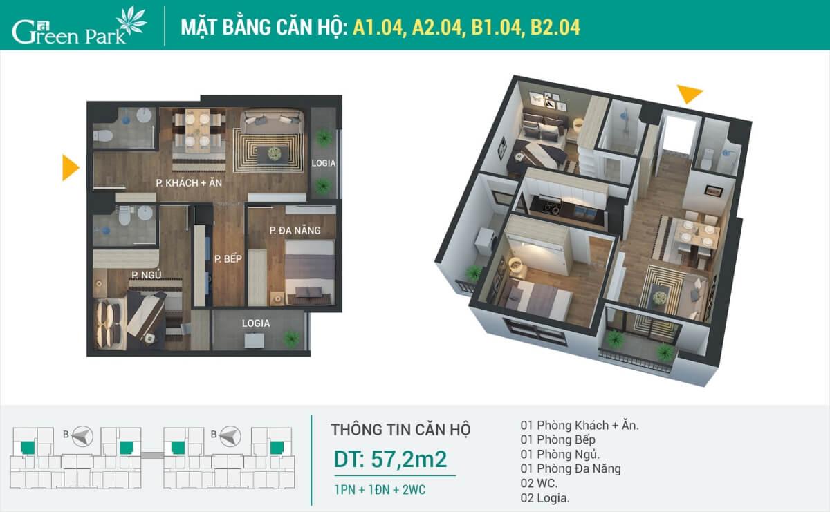 Thiết kế căn hộ số 4 (57.2m2) 2Phòng Ngủ Phương Đông Green Park