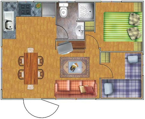 TWO BEDROOMS HOUSE PLANS - SMALL MODULAR HOUSE homeplansdesign.blogspot.com