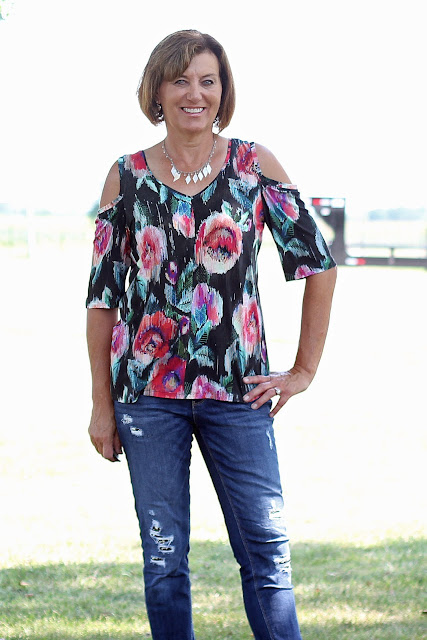 Simplicity 8337, view B made from Mood Fabrics' floral jersey