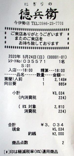にぎりの徳兵衛 今伊勢店 2020/5/24 のレシート