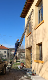 Bekir up the huge ladder once more