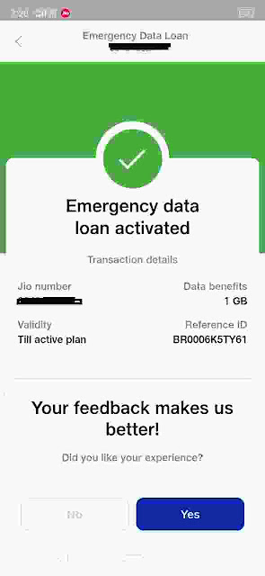 Now Activated Jio Emergency Data
