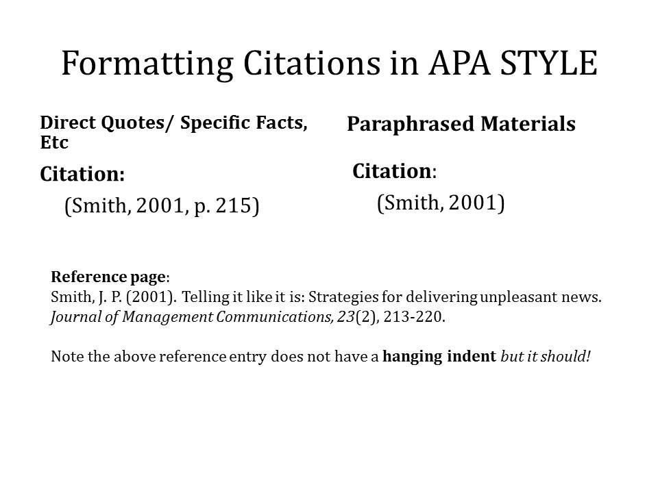 Writing apa style citations in a paper