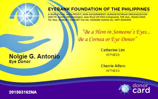 e-pledge form for corneal donor