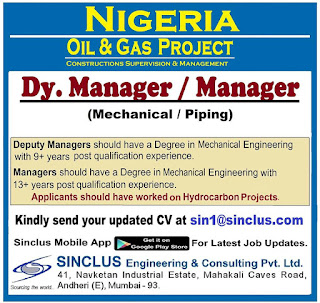 Dy Manager For Oil & Gas project in Nigeria