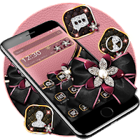 Rose Gold Diamond Black Bowknot Theme Apk for Android