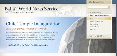 Объявление о трансляции открытия Храма бахаи в Чили на сайте СНМБ