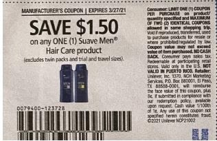 """$1.50/1 Suave Mens Shampoo Or Conditioner Coupon from """"RetailMeNot"""" insert week of 2/14/21"""