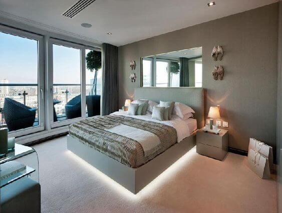 Illuminated floating bed