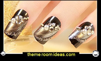 nail art - party nails - gold nails - glitter nails - black and gold nails - sparkle nails -  rhinestone decorations - embossed nail art sticker decals - pearl Nail Art fake nails- wedding nails - cute nails - nail art design ideas - themed nail decals - cute nail decals - cute nail stickers - party nails false nails