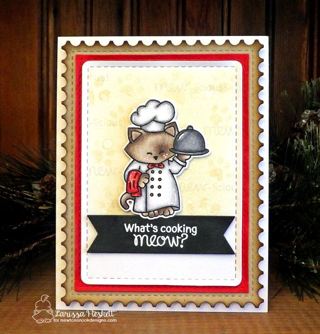 Cat chef card by Larissa Heskett | Newton's Kitchen Stamp Set by Newton's Nook Designs #newtonsnook #handmade #kitchenstamps
