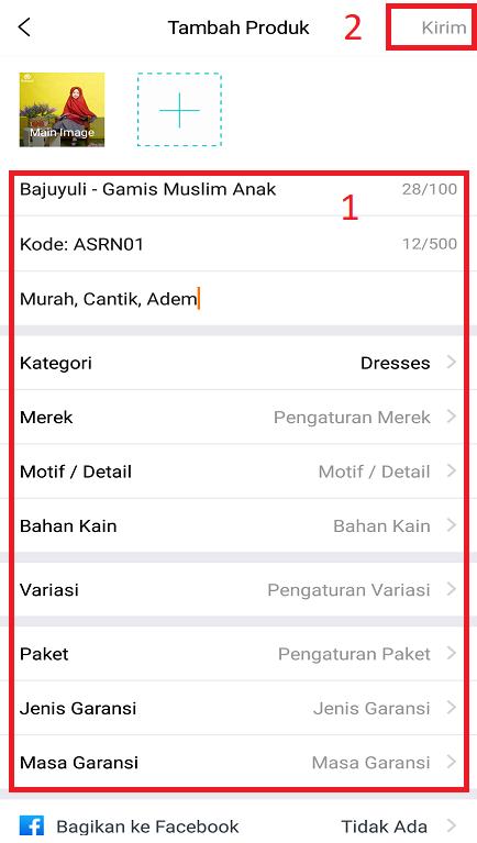 Mengisi Informasi Produk Jualan di Marketplace Lazada Melalui Smartphone.