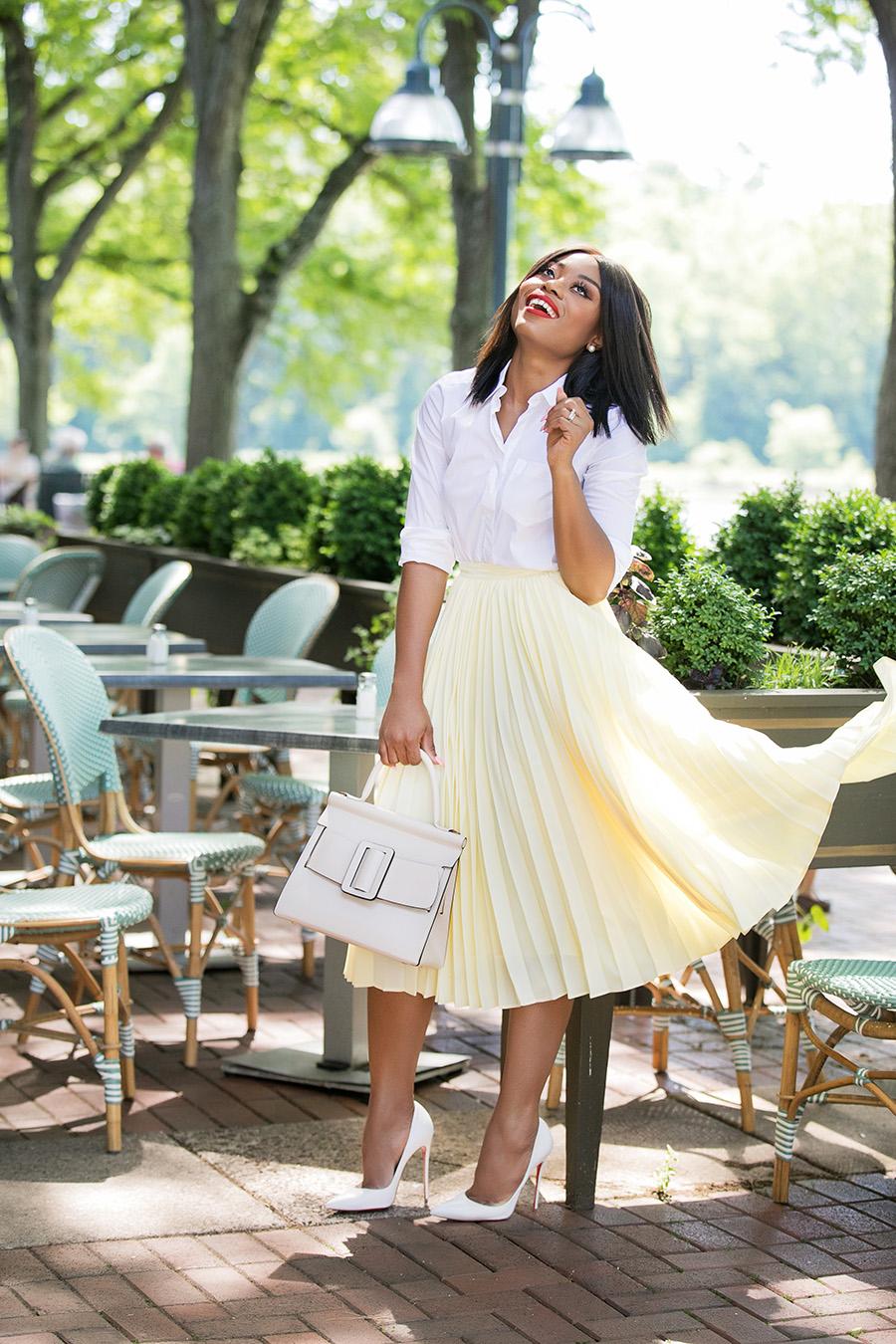 asymmetric pleated skirt, work style, www.jadore-fashion.com