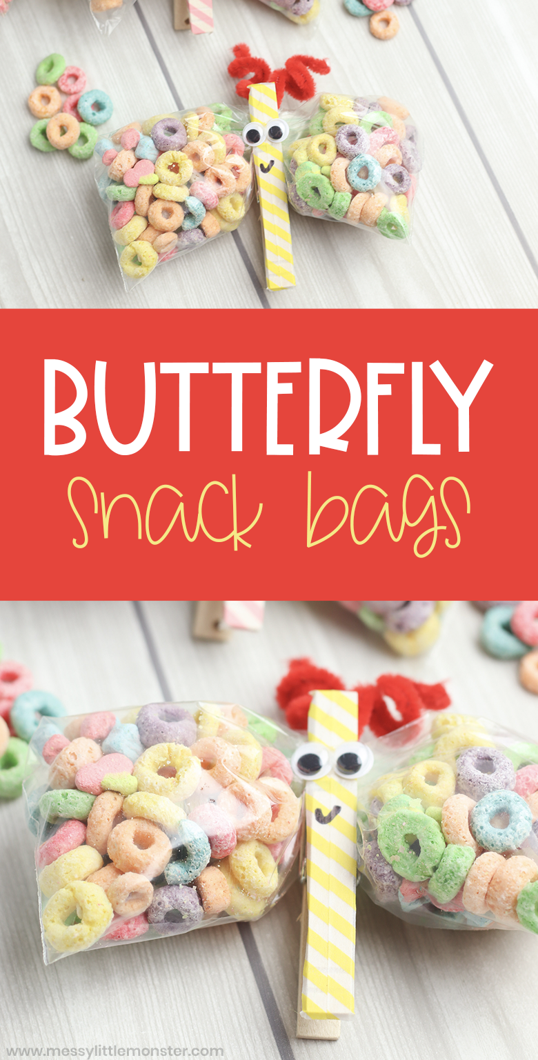 Butterfly snack bags - an easy to make butterfly snack for kids