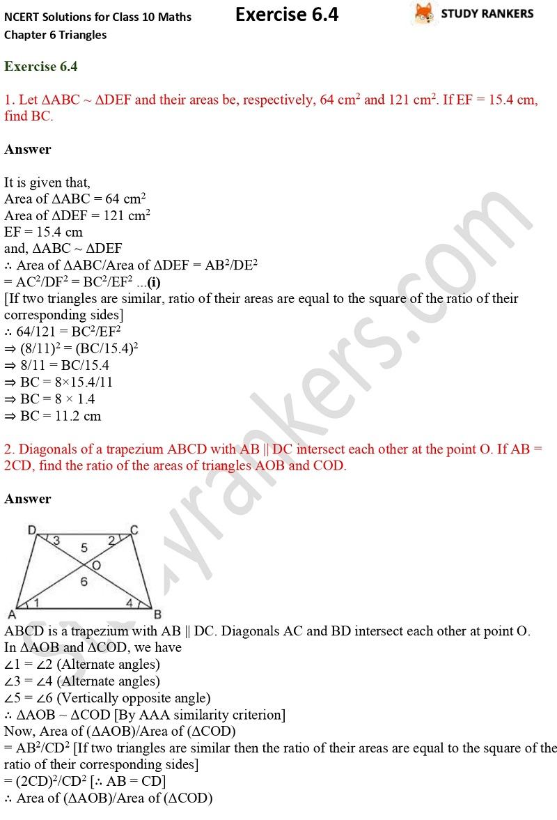 NCERT Solutions for Class 10 Maths Chapter 6 Triangles Exercise 6.4 Part 1