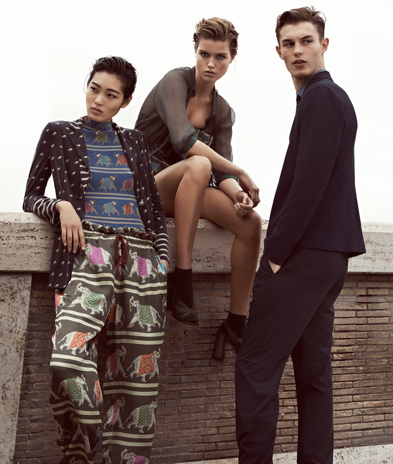 Emporio Armani shoots spring-summer 2017 advertising campaign in Rome, Italy