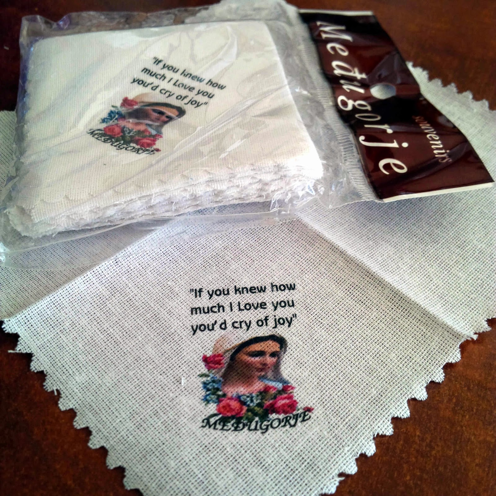 A close up of linen hand cloths available in Medjugorje