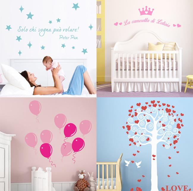 Decorare la cameretta con gli stickers murali in vinile neonato
