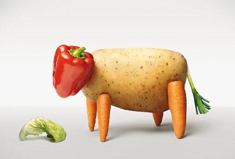 vache en légumes