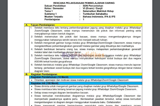 RPP Daring Sekolah Dasar (SD) Kelas 1, 2, 3, 4, 5 dan 6 Kurikulum 2013