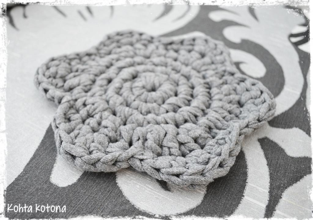 virkattu pyöreä matto matonkuteista ohje