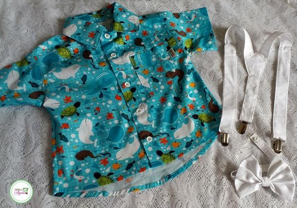camisa infantil fundo do mar com gravata e suspensório