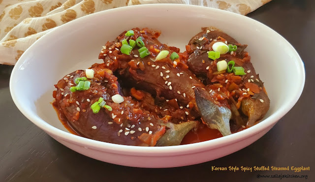 images of Korean Style Spicy Stuffed Steamed Eggplant / Spicy Stuffed And Steamed Eggplant / Gochujang Gaji-jjim