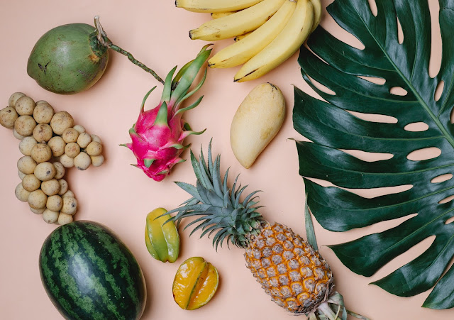 Different fruits shot flat lay style.