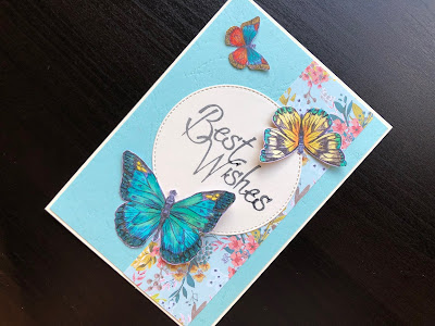 Hand made Best Wishes card with fussy cut butterflies coloured with copic markers