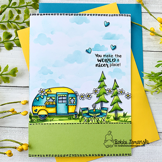 You make the world a better place by Bobbi features Cozy Camper, Thankful Thoughts, Cloudy Sky, and Fox Hollow by Newton's Nook Designs; #newtonsnook
