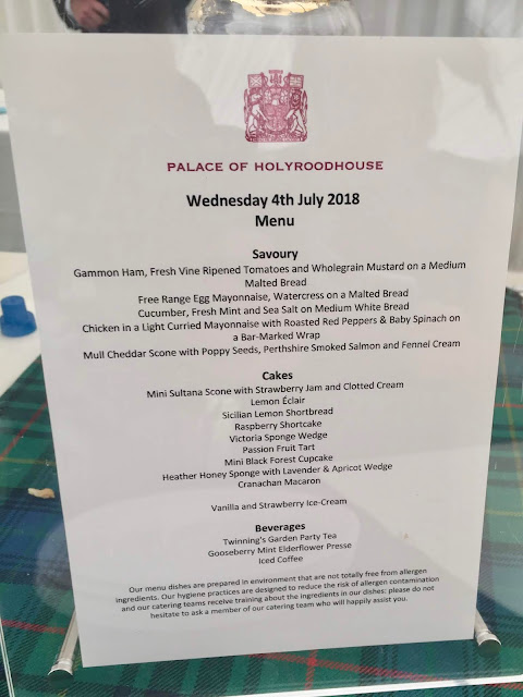 Afternoon tea menu at Holyrood Palace, Royal Garden Party