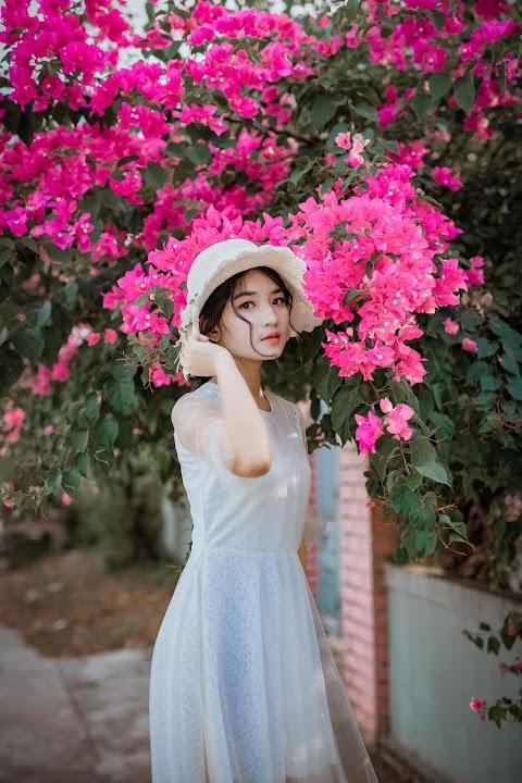Gái xinh tạo dáng bên hoa giấy