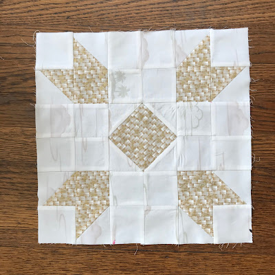 quilt block in light tan colors