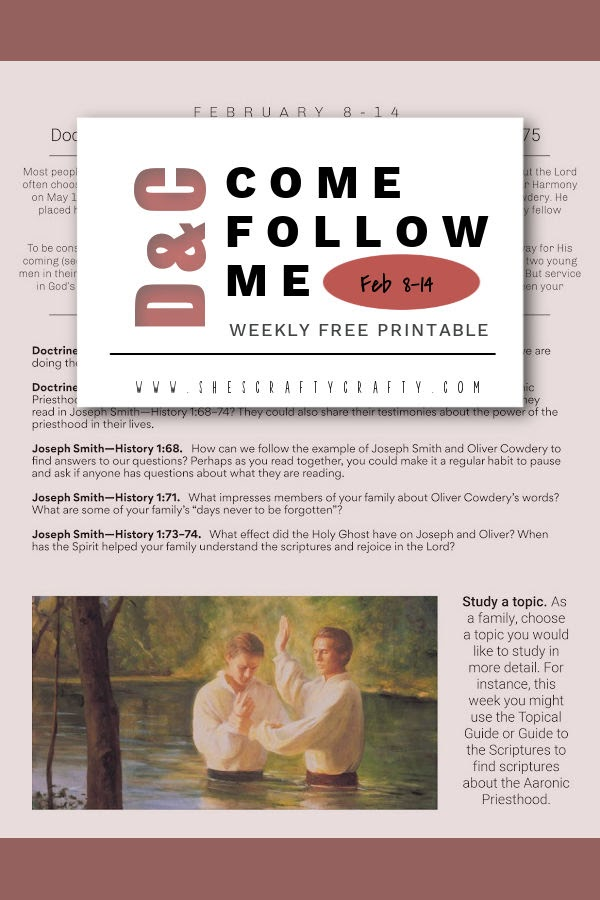 Come Follow Me - D&C 12-13 - free weekly printable