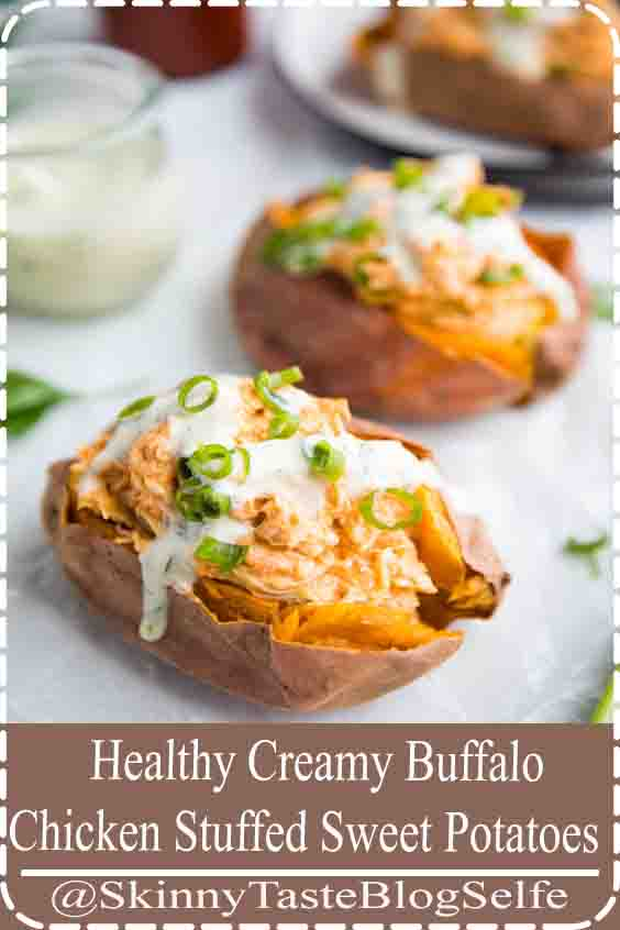 4.7 | ★★★★★ These creamy buffalo chicken stuffed sweet potatoes with ranch dressing are healthy, super flavorful, and easy to throw together for a Whole30 or paleo weeknight dinner recipe. With only a few ingredients and loads of protein and fiber, these healthy stuffed sweet potatoes are family favorites! #paleo #whole30 #Healthy #Creamy #BuffaloChicken #Stuffed #Sweet #Potatoes