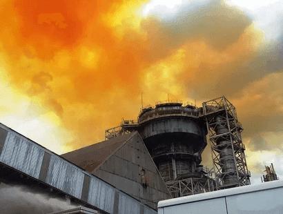 fumaça alaranjada no pólo Industrial cubatão