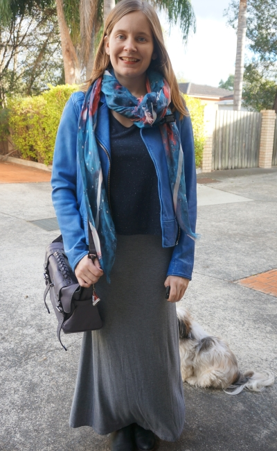 Cobalt leather jacket navy tee galaxy print scarf ankle boots and maxi skirt | Away From Blue Winter SAHM style
