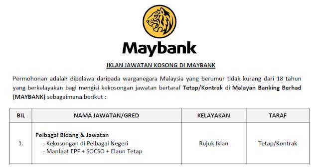 jawatan kosong maybank 2020