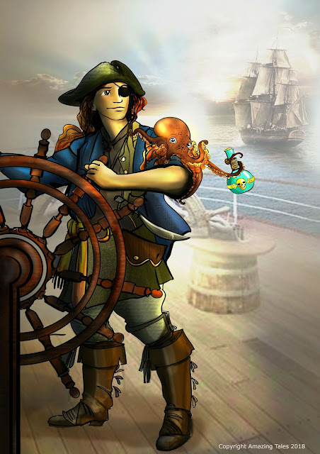 A pirate on a ship with another ship in a distance, with an octopus on their arm that is holding a bottle